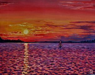 Красный закат над озером. 40х50, холст,
