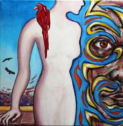 Девушка с ястребом 40 см x 40 см холст, акрил