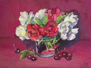 Натюрморт с розами и черешней. 30х40, хо