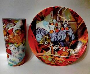 Сезанн.Комплект из стеклянной тарелки и стакана. Декор выполнен в технике декупаж. Цена 3500.jpg