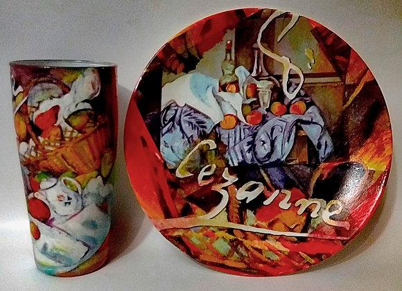 «Сезанн». Комплект из стеклянной тарелки и стакана.