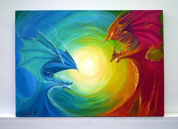 Битва драконов. холст, масло, подрамник. 50х70
