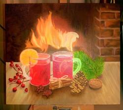Рождественский вечер у камина. Холст, масло, 30х40. Гаджиева Лейла