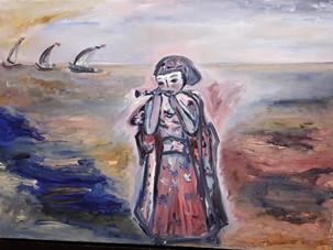 Девочка с дудочкой, 50х70, холст, масло.
