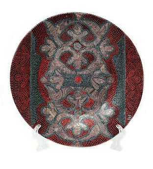 Нагрудник тарелка. d-20см. Стеклянная тарелка. Декор выполнен в технике точечной росписи. Цена 5000.jpg