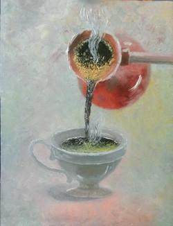 Кофейное настроение. Масло, холст 30х40. Мастихин. Гаджиева Лейла