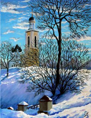 Зимний пейзаж с храмом.