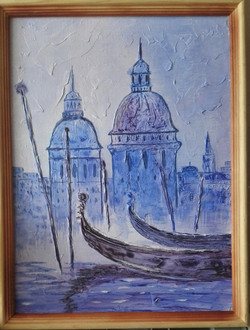 Венеция. Холст 30х40 см, акрил, текстурная паста. Гаджиева Лейла.