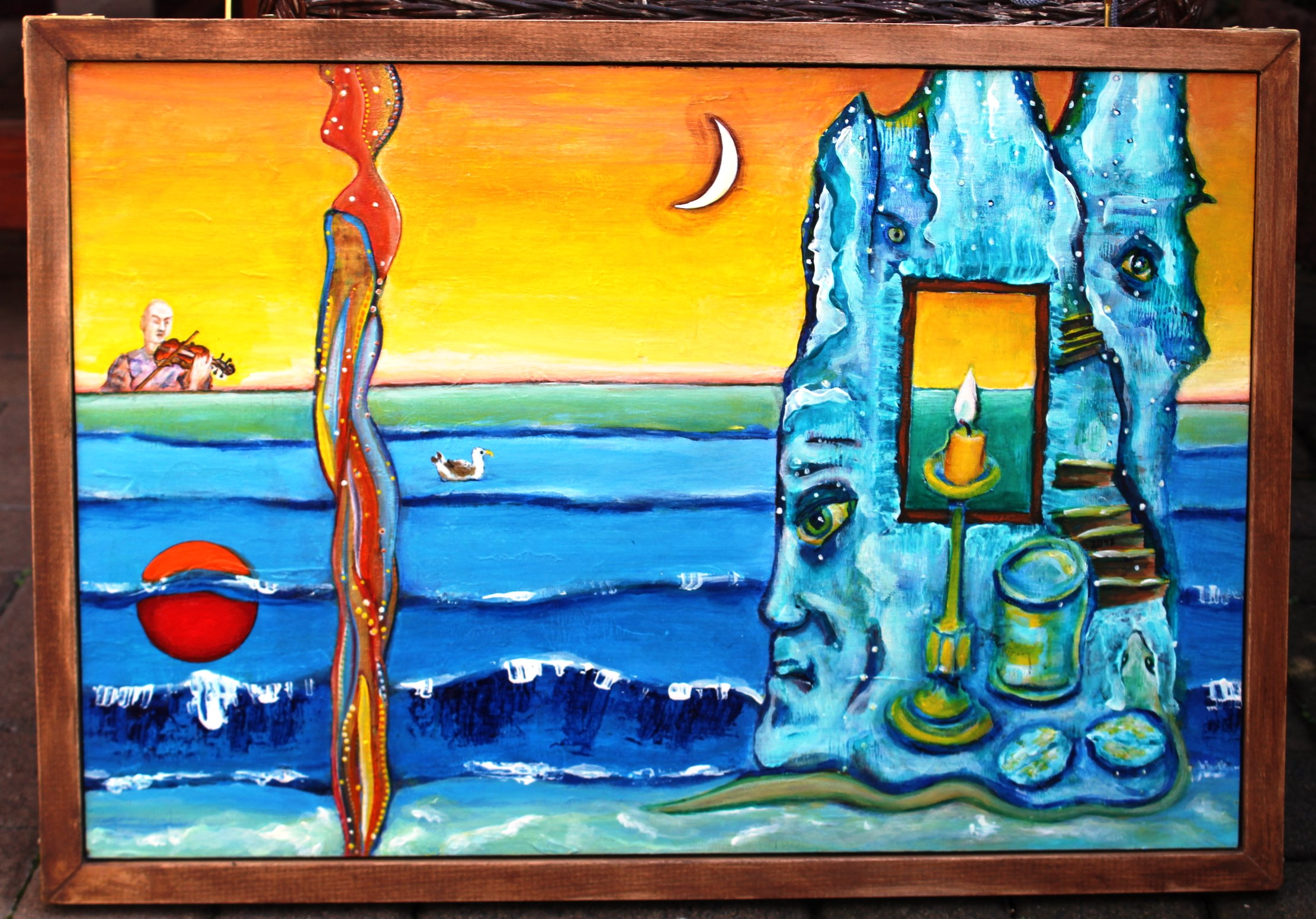 Дама на пляже 40см x 60см акрил по дереву 1-я сторона доски