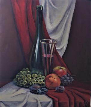 Натюрморт с вином и фруктами. 70х60, хол