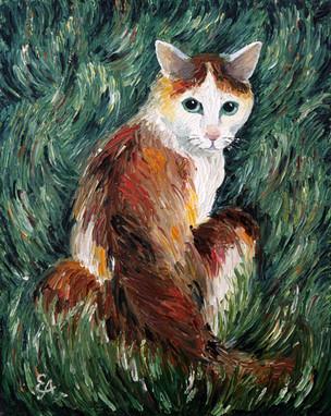 Кошка в траве 40х50, холст, масло. 5000