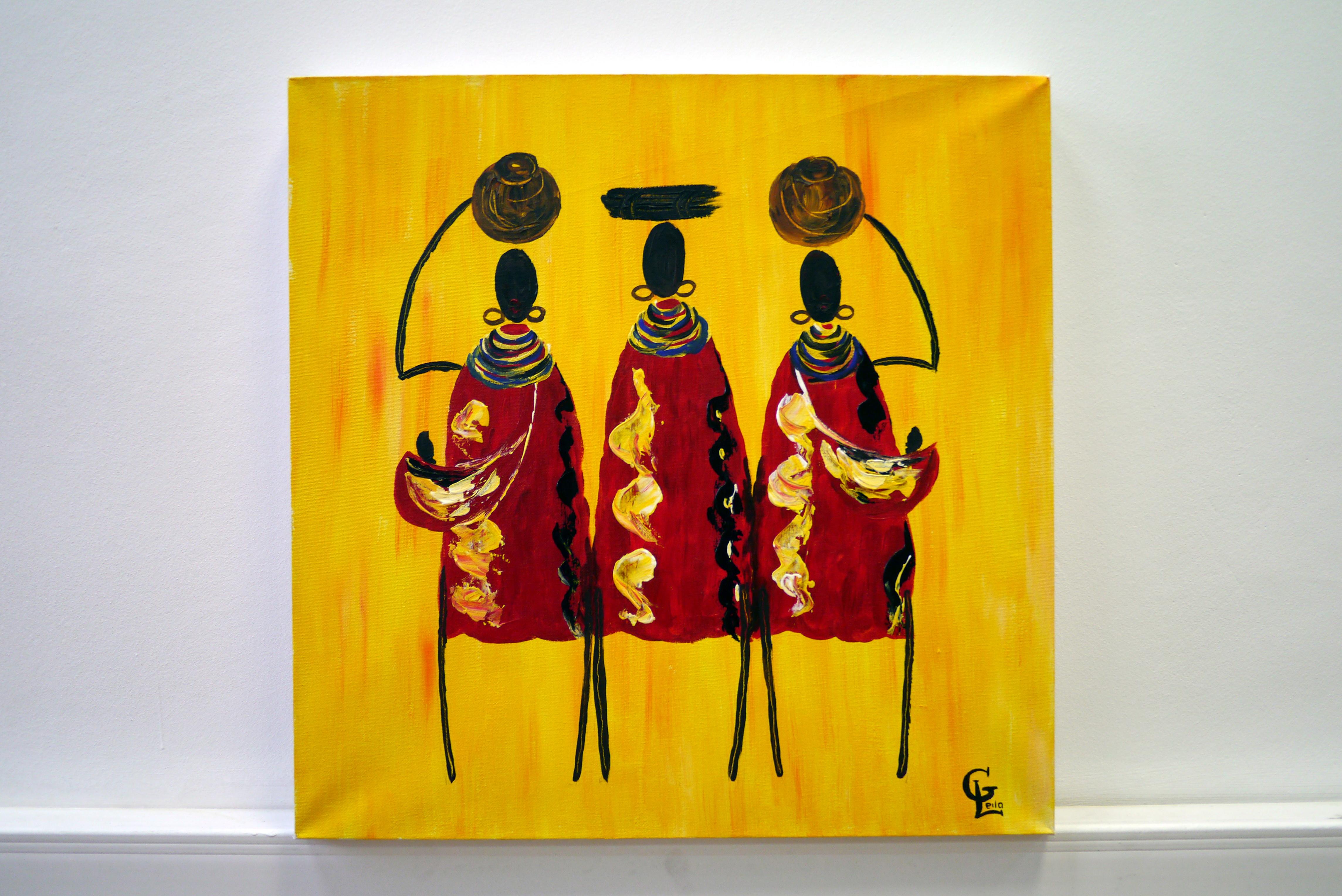 Гаджиева Лейла Африканская семья 50х50 холст, акрил