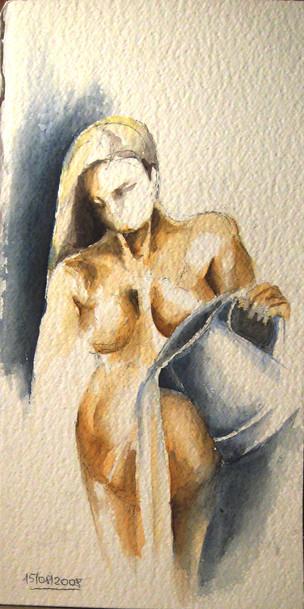 Корнева Юлия. Вода (автопортрет). акварель, бумага. 40х20 ax016.JPG