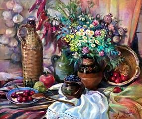Натюрморт с корчагой, чесноком и ягодами