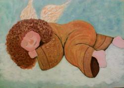 Спящий ангелочек. Холст, акрил. Гаджиева Лейла. 25х30 см.