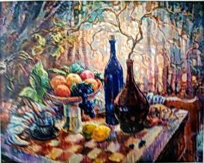 Шахматы и вино, 60х80, холст, масло - пр