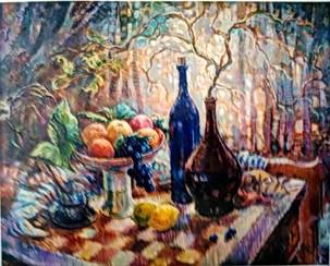 Шахматы и вино, 60х80, холст, масло