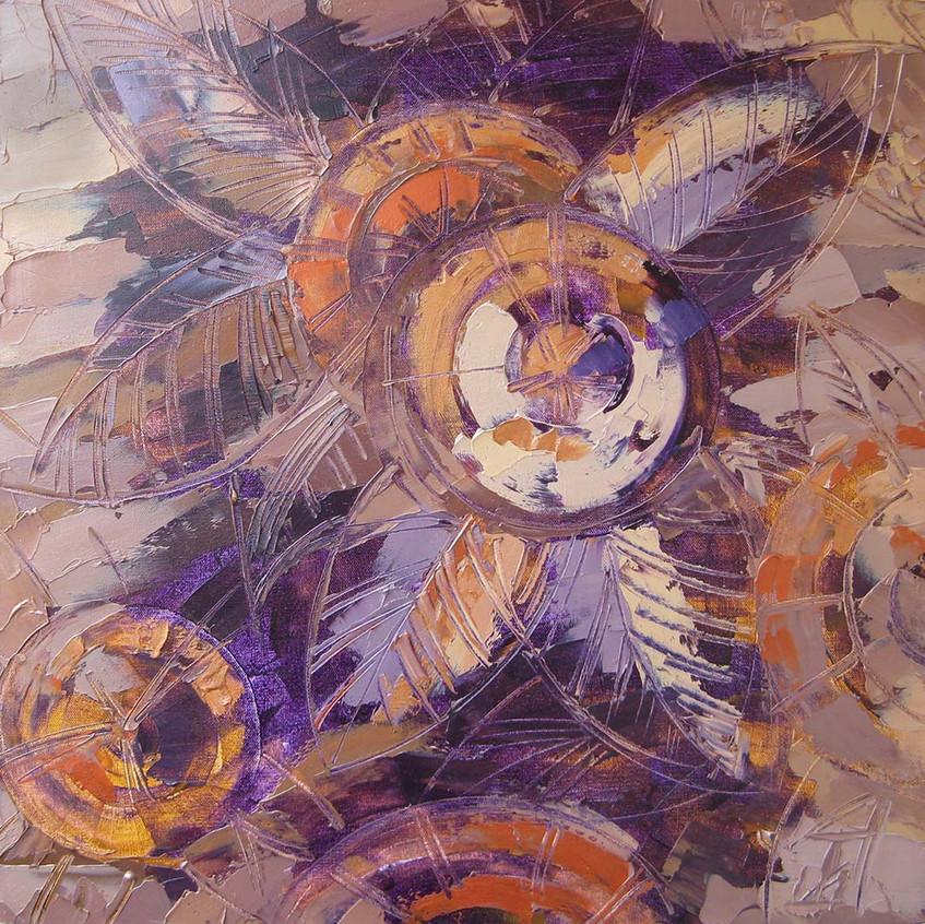 Шубакова Татьяна - Контрастный мотив. Фиолет - 60х60 - холст - масло - в раме