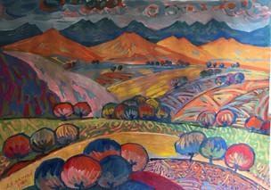 Осень в горах, 35х48см, бумага, гуашь, 42.000 р.