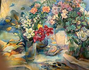 Цветочная композиция с ракушкой, 80х100,