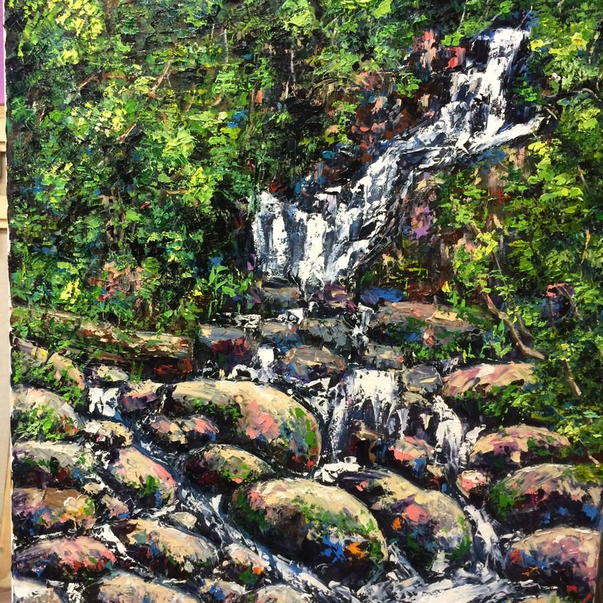 Торкский водопад, холст, масло, 80х60