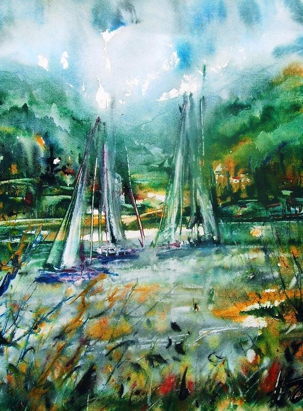 Яхты на озере, 2005, б. акв., 70х60.JPG