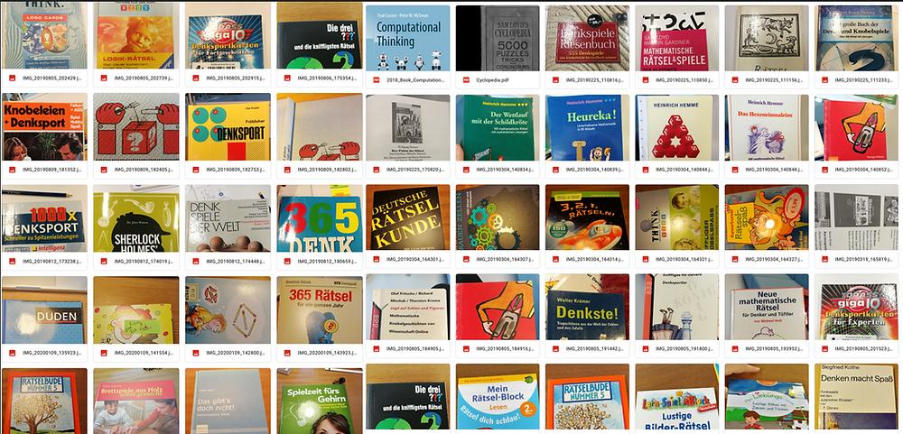Ein Raster aus Cover von vielen verschiedenen Rätselbüchern