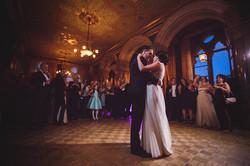 Couple in ballroom hold