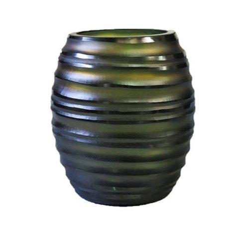 Carved green glass vase