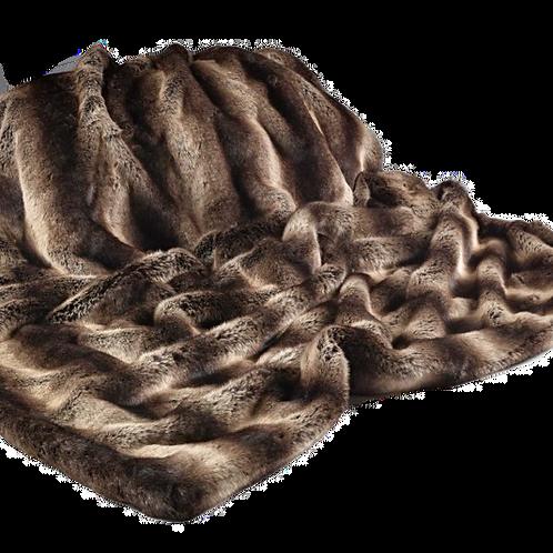 Dark Brown Striped Faux Fur Throw