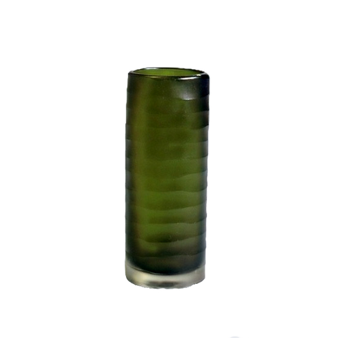 Green carved cylinder vase