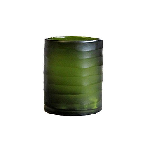 Green carved short cylinder vase/Candle Holder