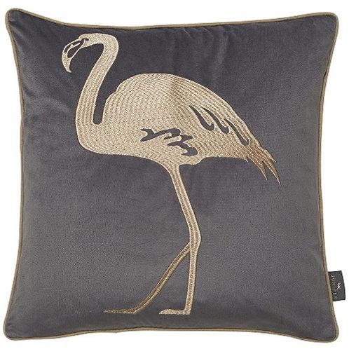 Flamingo Grey Embroidered Cushion 45x45 cm