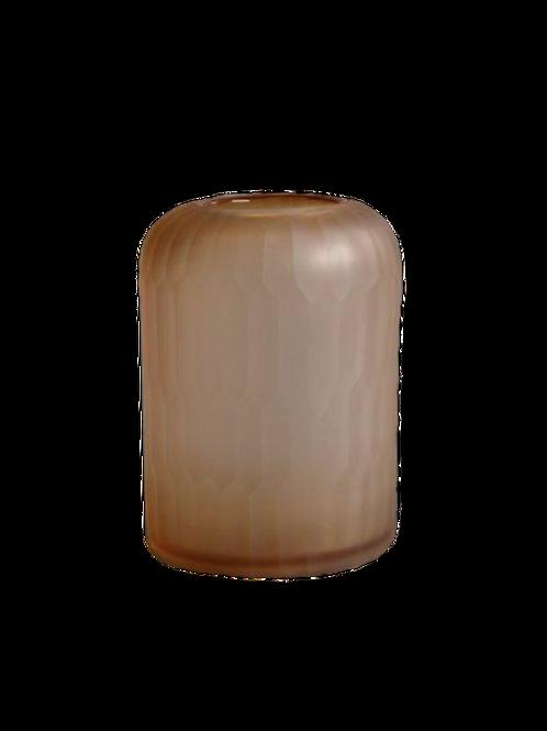 Salmon glass carved vase