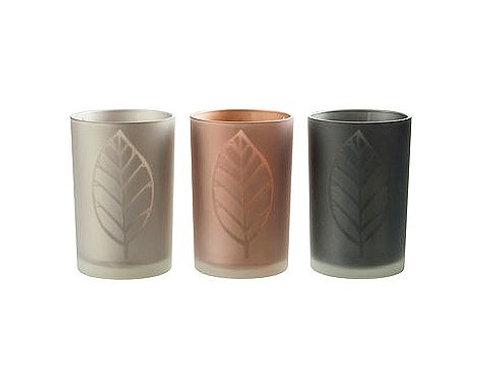 Leaf hurricane glass candle holders