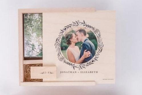 4 x 6 Custom Cover Wood Print Box with Session Prints & USB