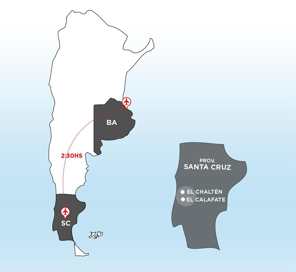 TURISTA_EN_BUENOSAIRES_CALAFATE_SantaCruz_Perito_Moreno_Glaciar_mapa