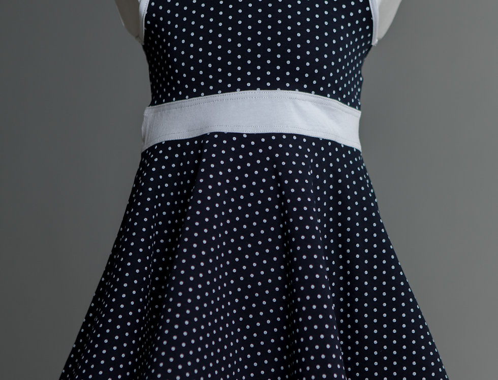 Dotted Blue Sleeveless Dress