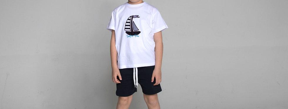 Cotton Jersey Crewneck T-Shirt boat