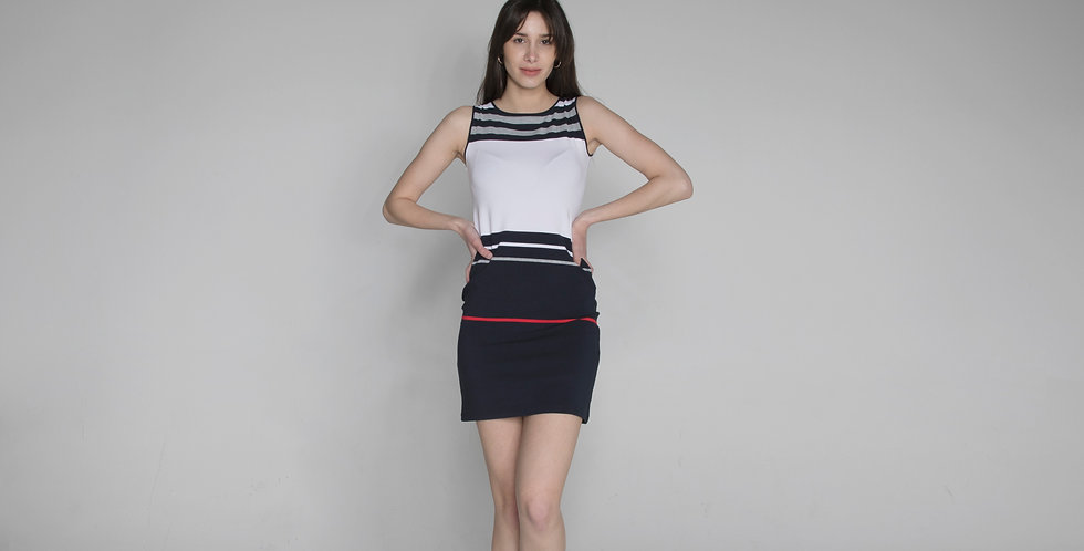 Sleeveless stripe dress Tea