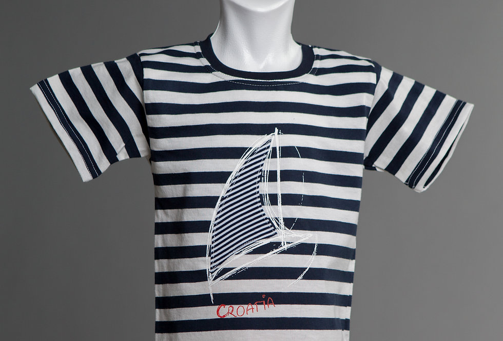 Cotton Jersey Crewneck T-Shirt Boat