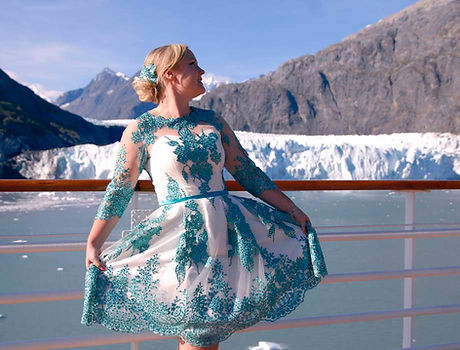 green laced eveningwear occasionwear dress on cruise ship glacier mountains alaska