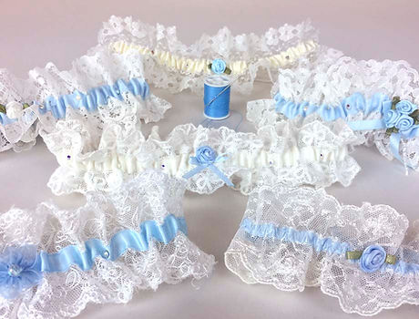 blue garters for brides wedding