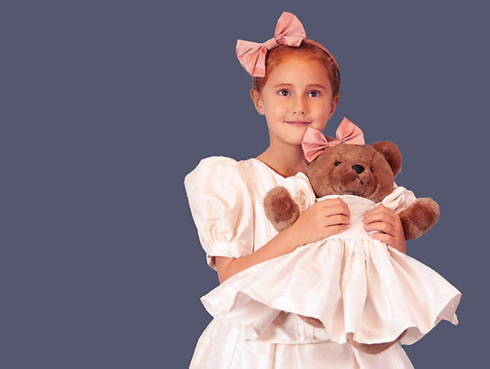 young girl wedding dress teddy bear pink bows