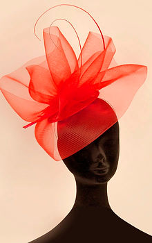 Red Designer Hat Millinery