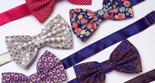 bow ties handmade red floral swirls blue shiny purple