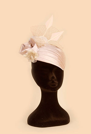 bride wedding hat headpiece amber pink cream white