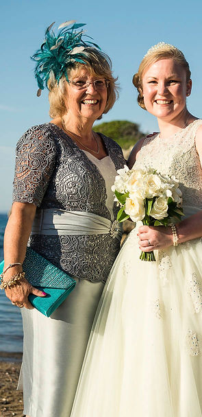 Mother and daughter wedding photo beach