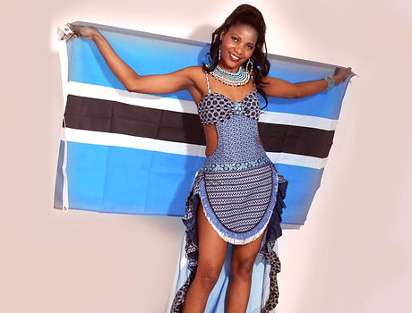 miss commonwealth international Botswana dress blue and black pattern spots Botswanan flag cyan