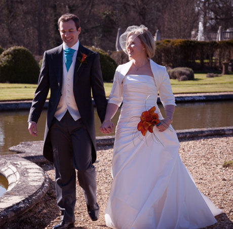 bride and groom wedding stately house and gardens